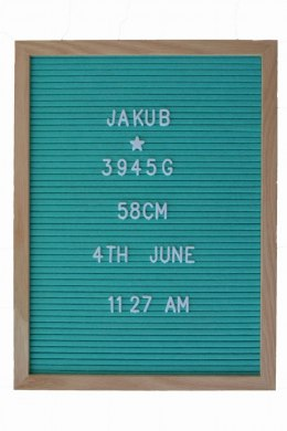 TABLICA Z LITERKAMI 40 X 30 SEA MINT